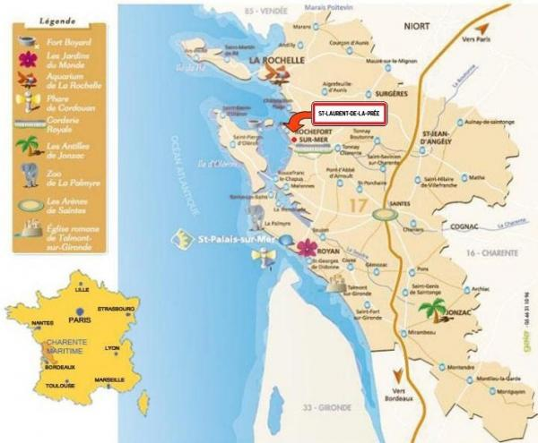 Carte loisir de la Charente Maritime